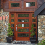Picture of a stained exterior door installation in victoria bc