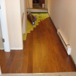 Picture of laminate hardwood flooring being installed in victoria bc