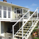 Picture of deck with Glass panels, Metal railing & Stairs