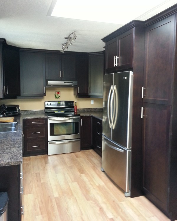 Picture of kitchen cabinets and flooring
