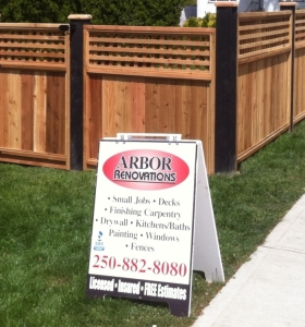 picture of the arbor renovations sandwich board