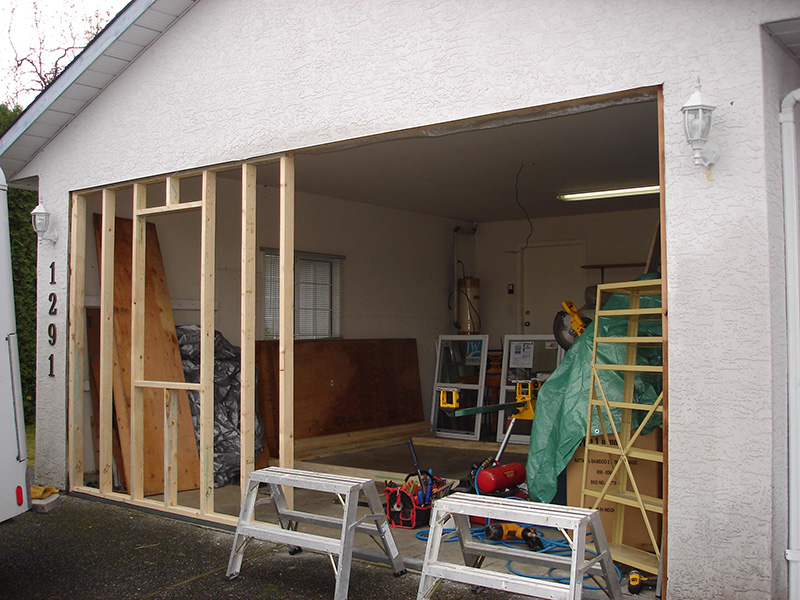 Framing for garage enclosure