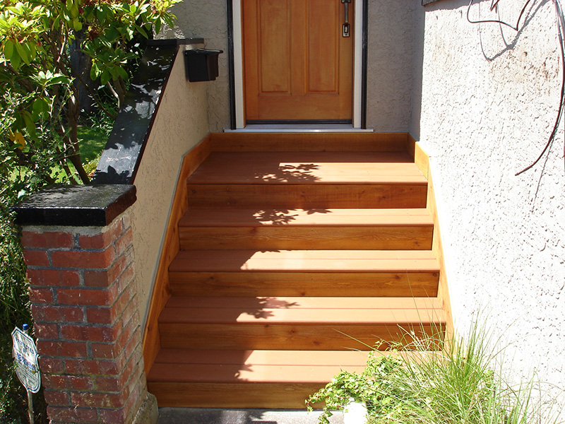 Exterior stairs constructed for exterior of home