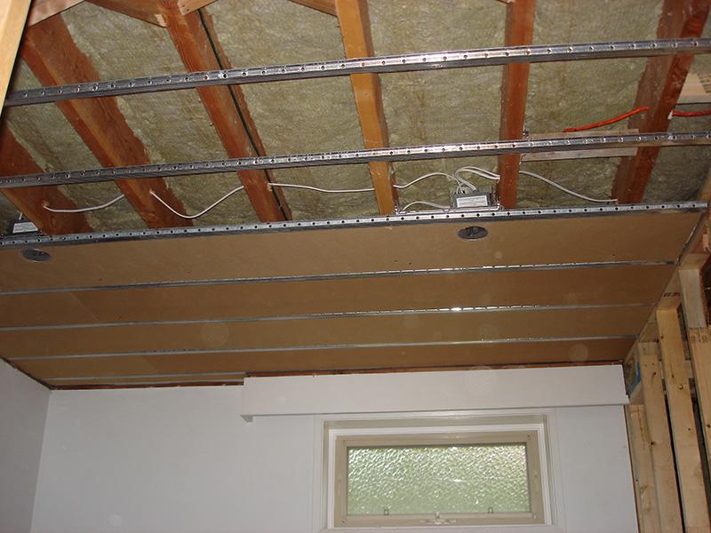 Basement suite acoustical ceiling
