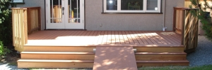 wooden deck with ramp for wheelchair