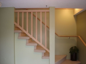 Interior stairs and railing.