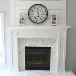 White fireplace mantle construction and install.