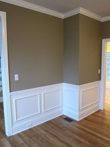 Interior wall painting and wainscoting. instalation.