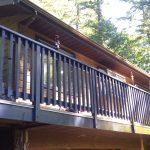 Painting of decking, railings.